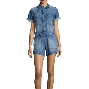 DL1961 Factor Distressed and Faded Denim Romper